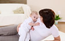 Free A Young Mother With Her Infant Baby At Home Stock Photo - 18586850
