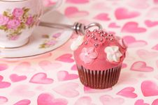 Cup Cake And Tea Cup Stock Image