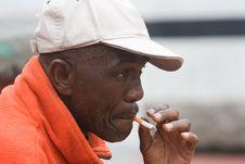 Elderly African American Man Smoking Stock Photography