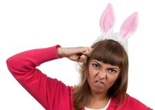 Girl With Rabbit Ears Royalty Free Stock Photos