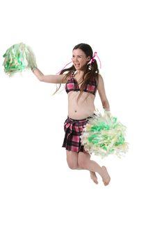 Free Girl Cheerleader Jump Stock Images - 18589494