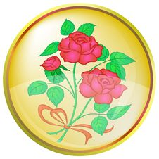 Free Button, Red Rose Royalty Free Stock Photo - 18590355