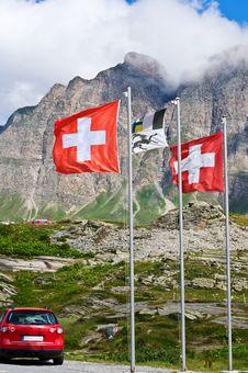 Free Swiss Flags On San Bernardino Pass Stock Photo - 18590770