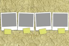 Free Four Empty Photographs With Yellow Notes Stock Photo - 18591530