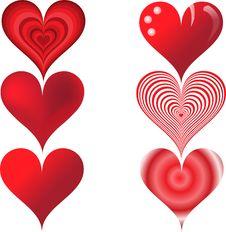 Free Set Of Six Hearts Stock Photo - 18592160