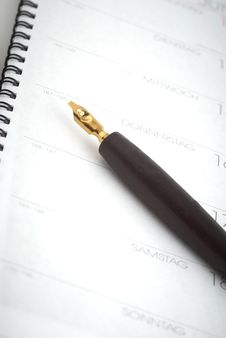 Free Calender With A Pen Stock Image - 18594671