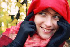 Closeup Portrait Of Young  Beautiful Girl Stock Photos