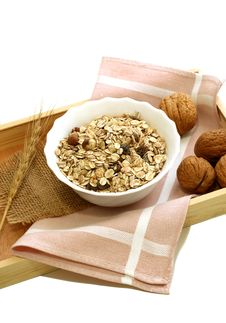 Free Muesli Of Oats With Raisin And Walnuts Royalty Free Stock Photography - 18597147