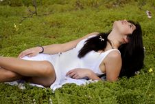 Free On A Green Field Of Pure White Royalty Free Stock Photography - 18597837