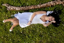 Free On A Green Field Of Pure White Stock Photography - 18597922