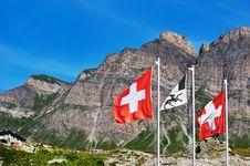 Free Swiss Flags On San Bernardino Pass Royalty Free Stock Photography - 18598307