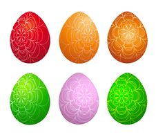 Free Set Of Six Easter Eggs Royalty Free Stock Photo - 18599395