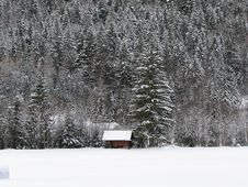 An Old Barn In Winter Stock Photography