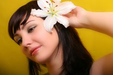 Brunette With White Lily Flowers
