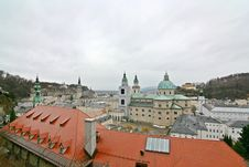 Wide-Angle Salzburg Cityscape Royalty Free Stock Images