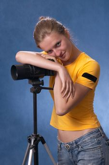 Russian Girl With A Photo Camera 3 Stock Photography
