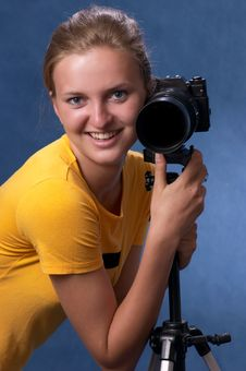Russian Girl With A Photo Camera 4 Royalty Free Stock Photography