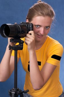Free Russian Girl With A Photo Camera 5 Royalty Free Stock Images - 1868019