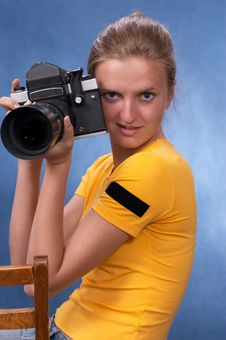 Russian Girl With A Photo Camera 6 Stock Photos