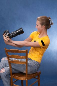 Russian Girl With A Photo Camera 7 Royalty Free Stock Images