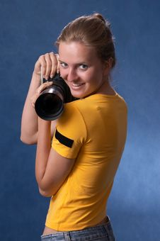 Russian Girl With A Photo Camera 8 Royalty Free Stock Images