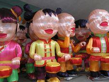 Free Cheerful Chinese Lantern Dolls Royalty Free Stock Image - 1868796