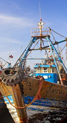 Old Fishing Boats - Morocco Stock Photos