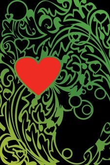 Free Green Ornament With Red Heart Royalty Free Stock Image - 18601106