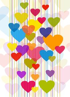 Free Transparent Colorful Hearts Royalty Free Stock Photos - 18601148