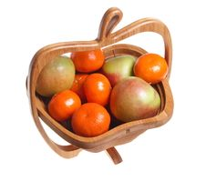 Free Tangerines And Apples In A Wooden Basket Stock Photos - 18601193