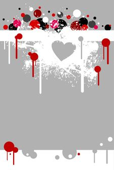 White Heart Stain And Red Paint Royalty Free Stock Photos
