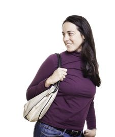 Free Beautiful Young Woman With A Leather Bag Stock Photos - 18601273