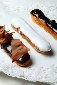 Three Eclairs Royalty Free Stock Images