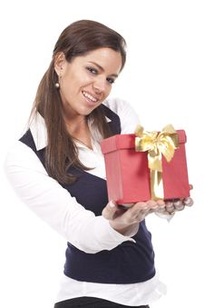 Woman Holding A Gift Red Box Royalty Free Stock Photos