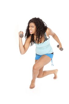 Free African American Woman Crazy Workout Royalty Free Stock Photo - 18602525