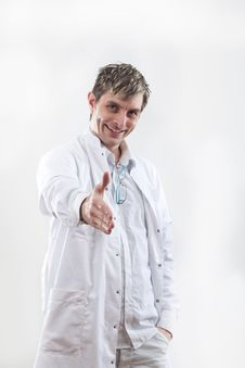 Free Doctor Smiling With A Happy Handshake Stock Photos - 18603433