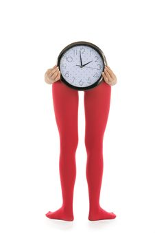 Free Legs In Red Tights And Clock Royalty Free Stock Photos - 18603788