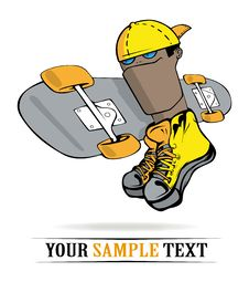 Free Skateboarding Boy Emblem Royalty Free Stock Image - 18604406