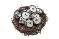 Free Screw Nuts In Bird Nest Royalty Free Stock Image - 18604796