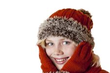 Free Young Blond Girl With Winter Cap And Gloves. Stock Images - 18605244