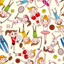 Seamless Sport Player  Pattern Stock Images