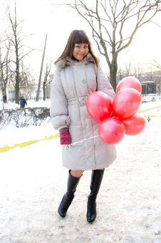 Winter Girl With Balloon Stock Photo