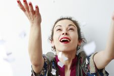 Free Happy Woman Throwing Pieces Of Paper In The Air Stock Photography - 18607282