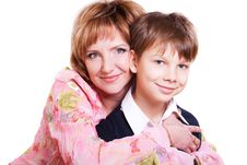 Free Portrait Of Mother And 9 Year Old Son Royalty Free Stock Image - 18608376