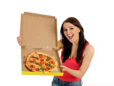 Pretty Casual Girl With Tasty Pizza Royalty Free Stock Photography