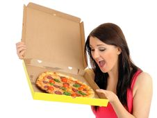Pretty Casual Girl With Tasty Pizza Royalty Free Stock Photo