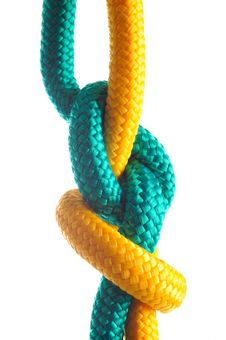 Free Rope With Marine Knot On White Background Royalty Free Stock Photos - 18608948