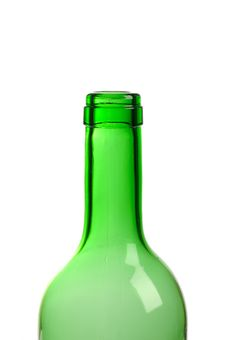 Free Empty Green Wine Bottle Isolated Royalty Free Stock Photography - 18609047