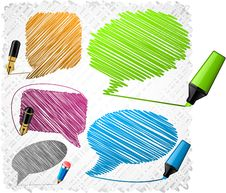 Free Scribbled Speech Shapes. Royalty Free Stock Photo - 18609135