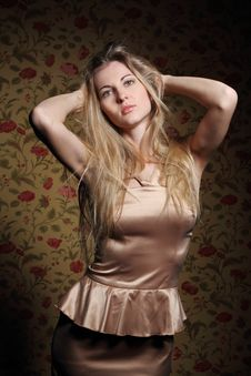 Free Beauty Blond Girl In Beige Dress Stock Photo - 18609490
